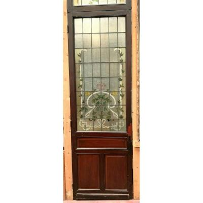 Door And Transom In Art Deco Stained Glass Early XX Century Floral Decor