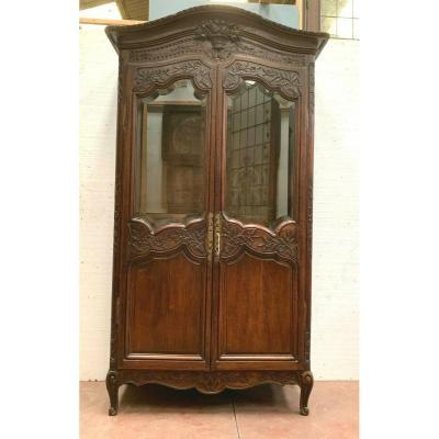 Bridal Cabinet In Carved Oak Showcase Two Doors XIX Century