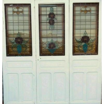 Separation Of Three Doors In Art Deco Stained Glass Epoque 1900
