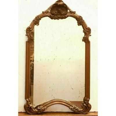 Miroir En Bois Sculpté De Style Louis XV Sculpté Chêne Massif