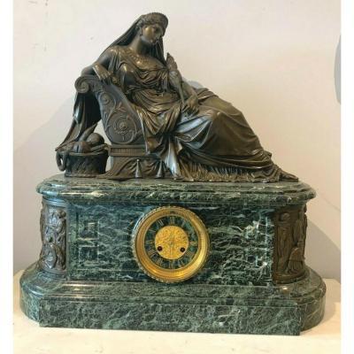 Imposing Pendulum In Bronze And Marble J Feuchere Editor Gauthier XIX Century
