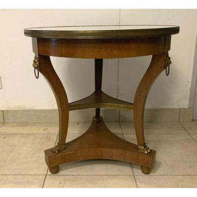 Empire Style Tripod Pedestal Table In Mahogany Marble Top With Brass Gallery