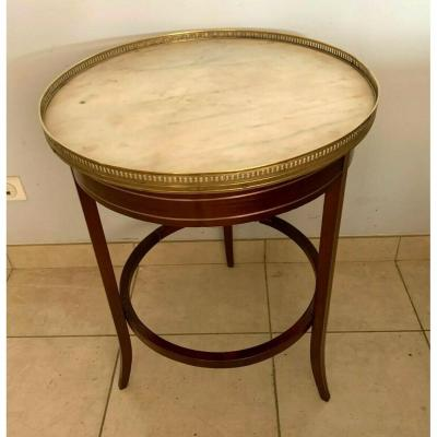 Louis XVI Style Pedestal Table In Mahogany Marble Top A Gallery XX Century