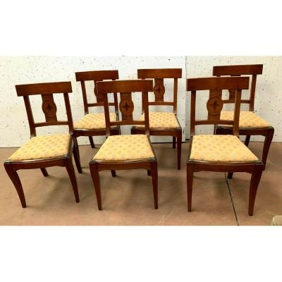 Suite Of Six Directoire Style Chairs In Natural Wood XX Century