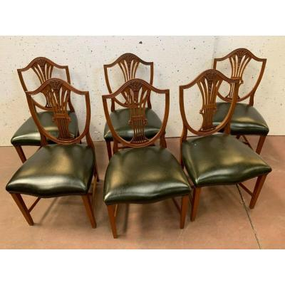 Suite Of Six Chairs In Natural Wood Model With Ears Of Wheat XX Century