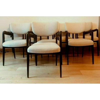 Suite Of Eight Design Armchairs From The 60s In Blackened Wood XX Century