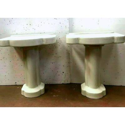 Pair Of Console On Bathroom Foot In White Enamel XX Century