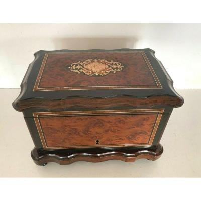 Napoleon III Cigar Box In Thuja Burl Marquetry / Boulle