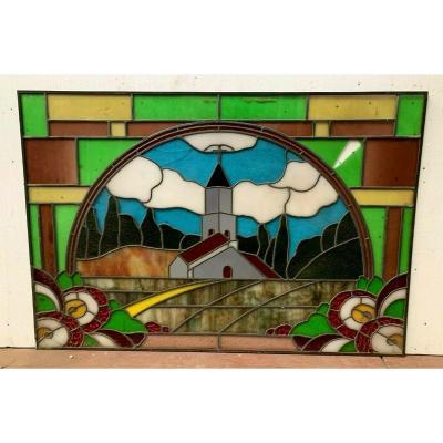 Vitrail Art Déco A Décor d'Un Clocher d'église XX Siècle