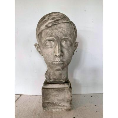 Buste d'Un Jeune Homme En Plâtre Signé Gerard Choain XX Siècle