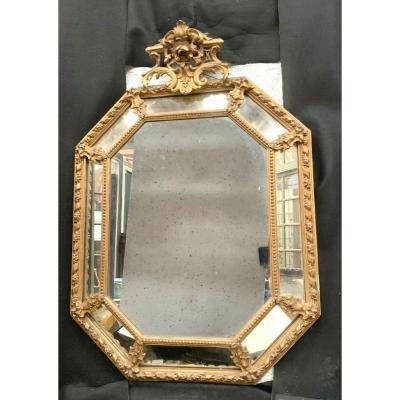 Miroir A Pare Closes En Bois Et Stuc Doré Miroir Napoléon III XIX Siècle