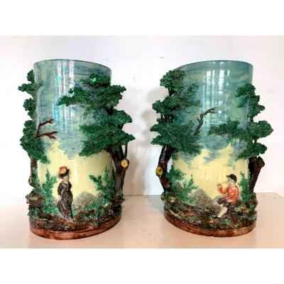 Pair Of Barbotine Earthenware Vases Decor Of Trees And Character XX Century