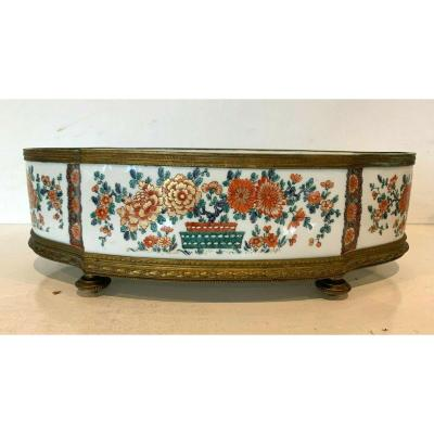 Porcelain Planter With Japanese Decor Base And Gilded Brass Strapping