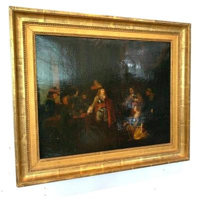 Oil On Canvas Animated Scene Of Characters XIX Century