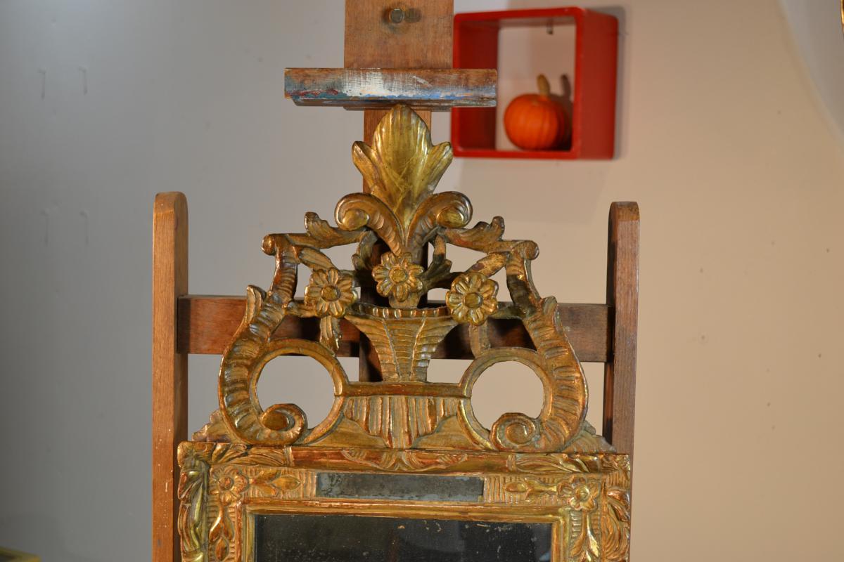 Petit miroir r gence en bois dor miroirs for Petit miroir sur pied ancien