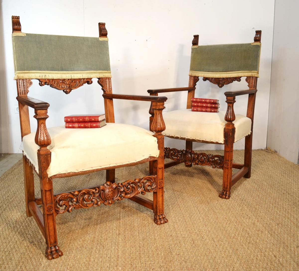 Pair Of Walnut Armchairs In Renaissance Style