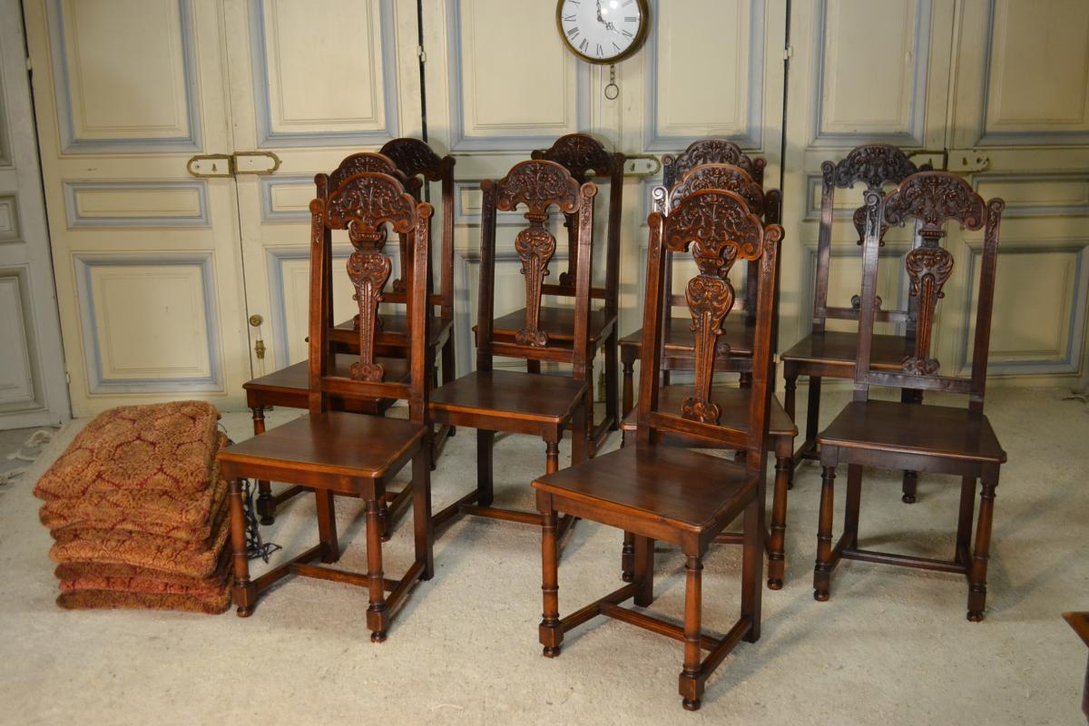 Suite De Dix Chaises En Noyer Style Renaissance-photo-2