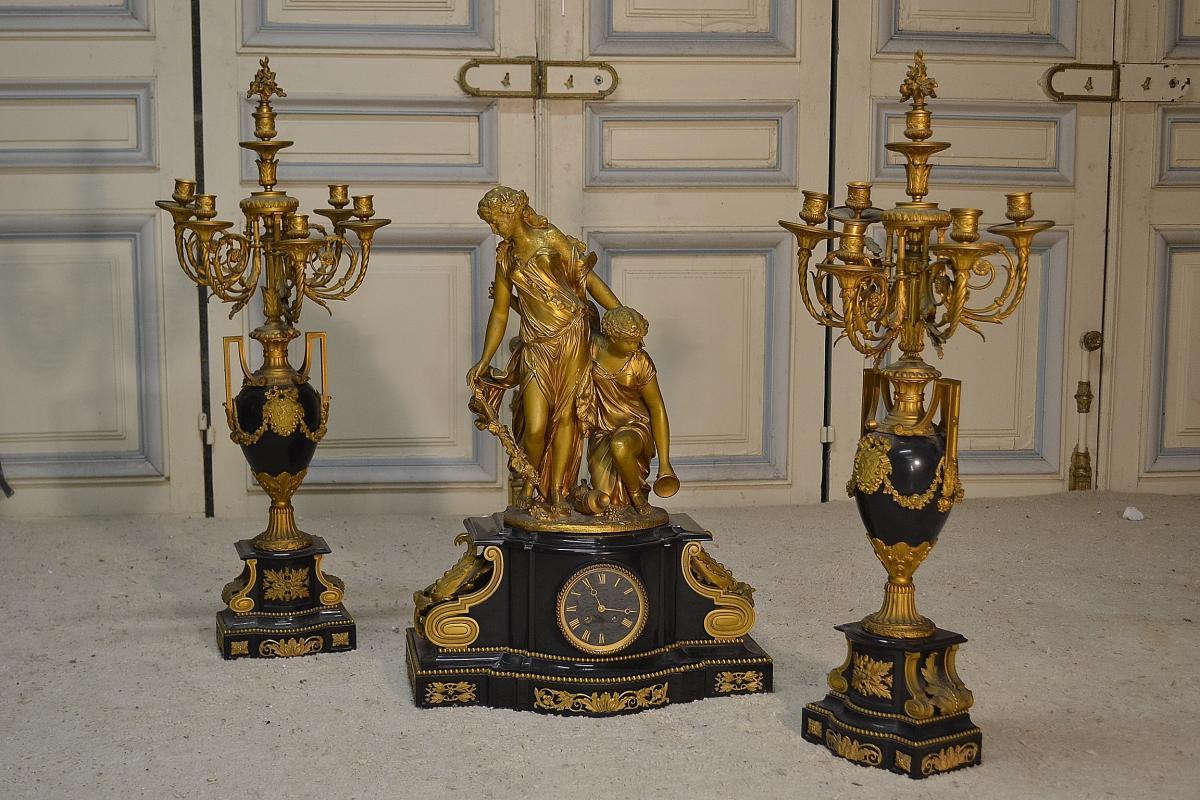 Garniture En Bronze Doré époque Napoléon III