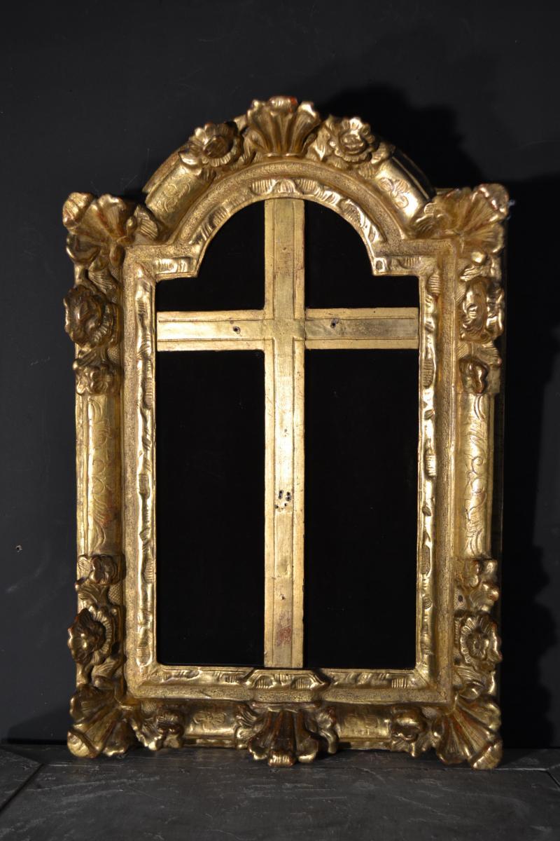 Crucifix Frame In Golden Wood, Eighteenth Century.