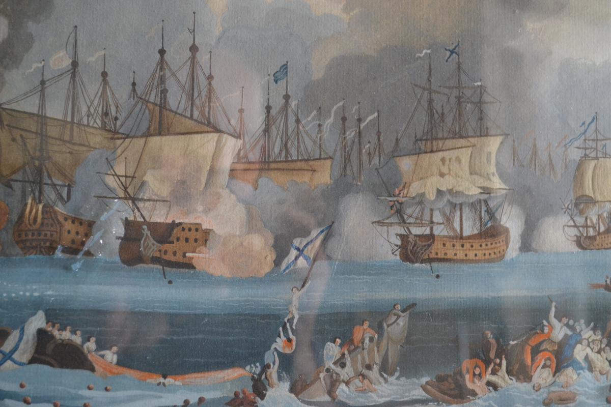 Neapolitan Gouache Representative A Naval Battle