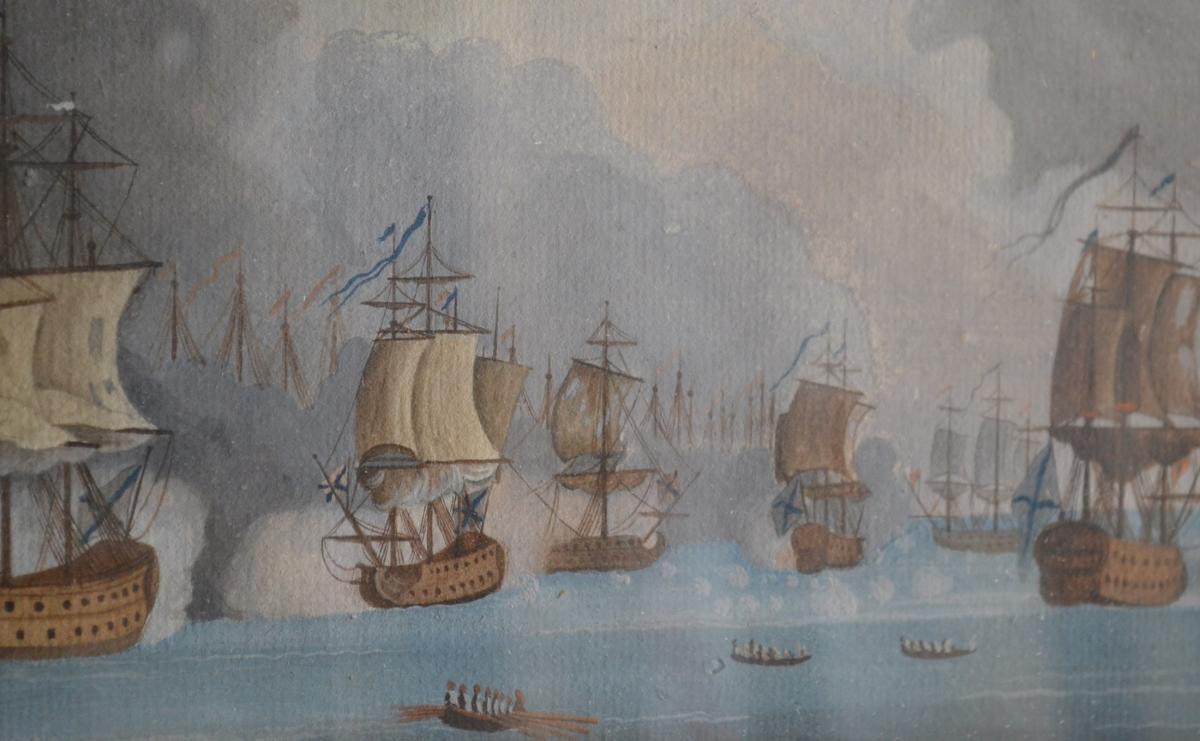 Neapolitan Gouache Representative A Naval Battle-photo-2