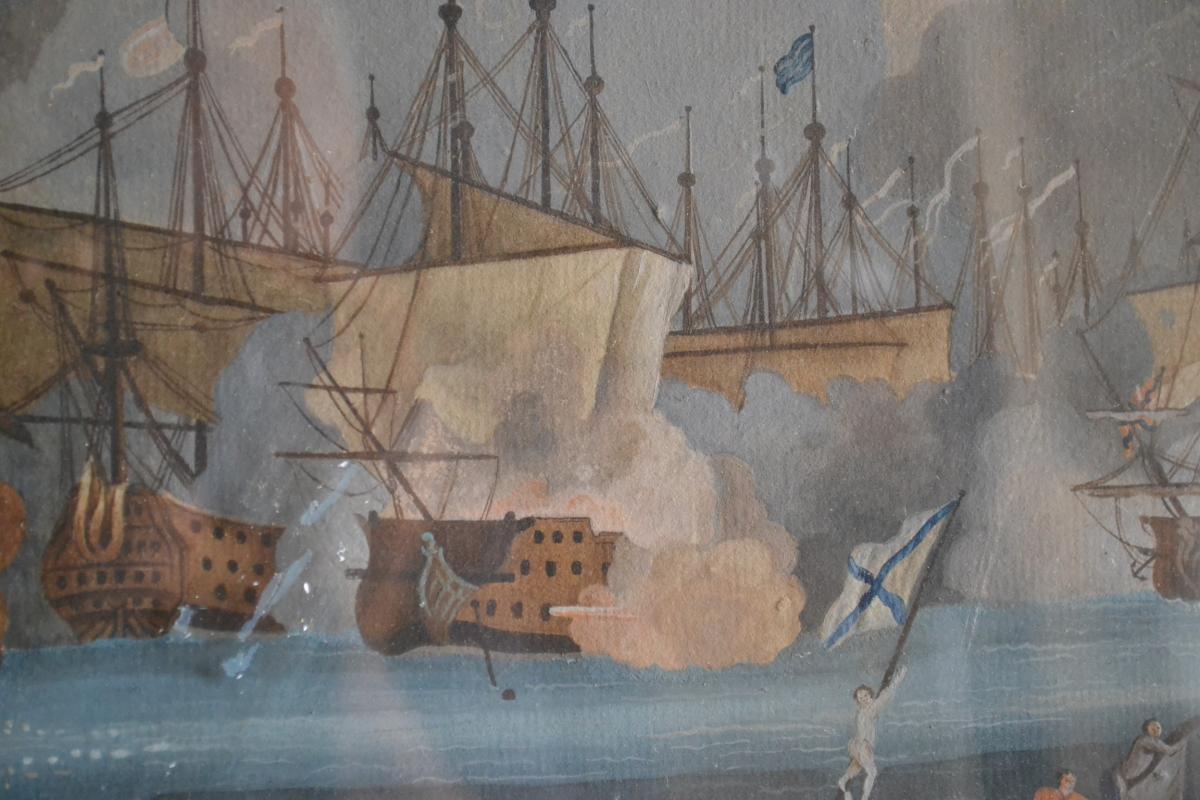 Neapolitan Gouache Representative A Naval Battle-photo-3