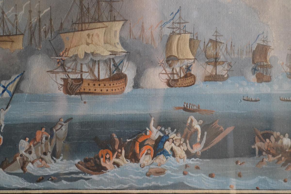 Neapolitan Gouache Representative A Naval Battle-photo-1