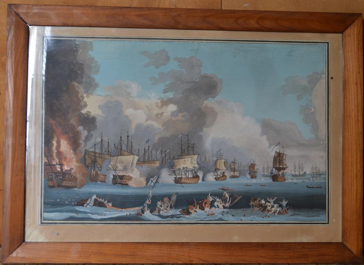 Neapolitan Gouache Representative A Naval Battle-photo-4