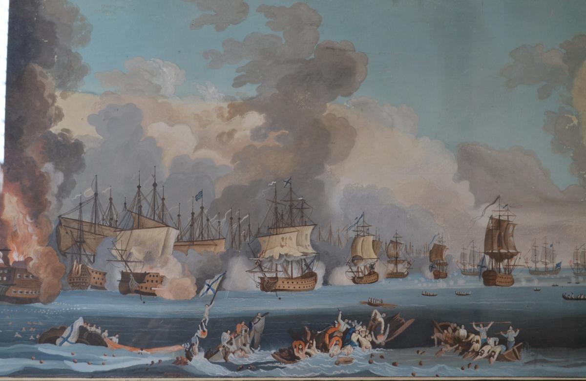 Neapolitan Gouache Representative A Naval Battle-photo-5