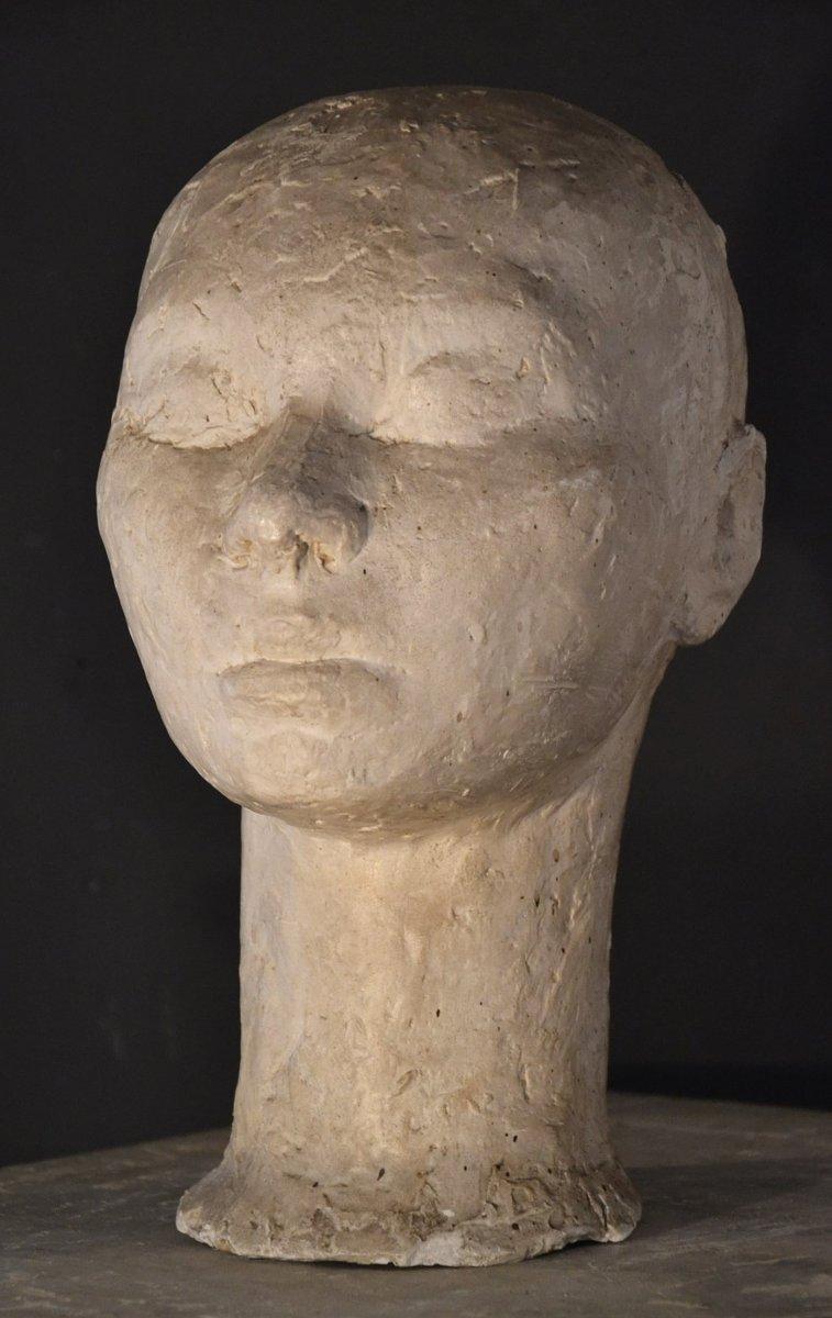 Buste d'Atelier En Plâtre Des Années 1930