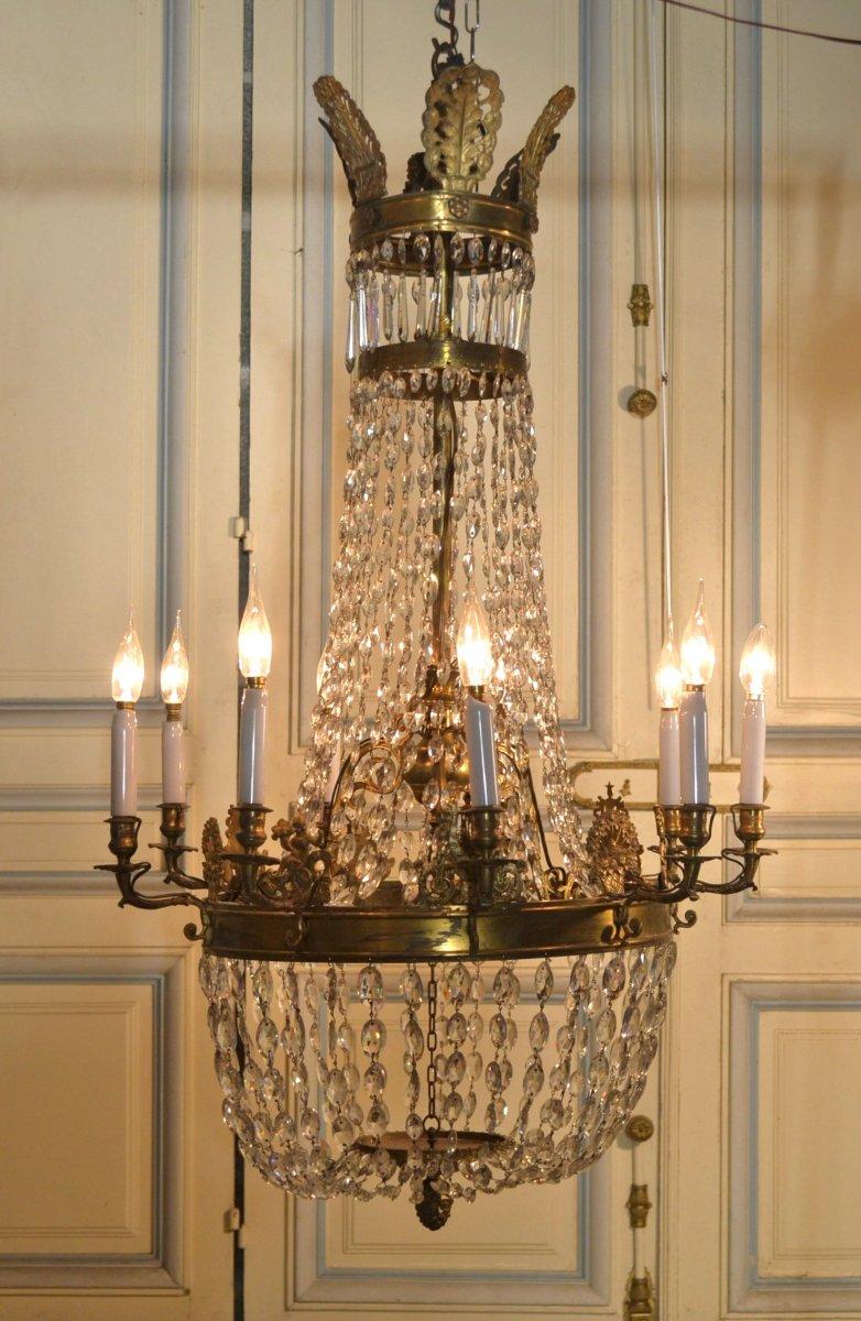Lustre Bronze Et Pampilles De Style Empire