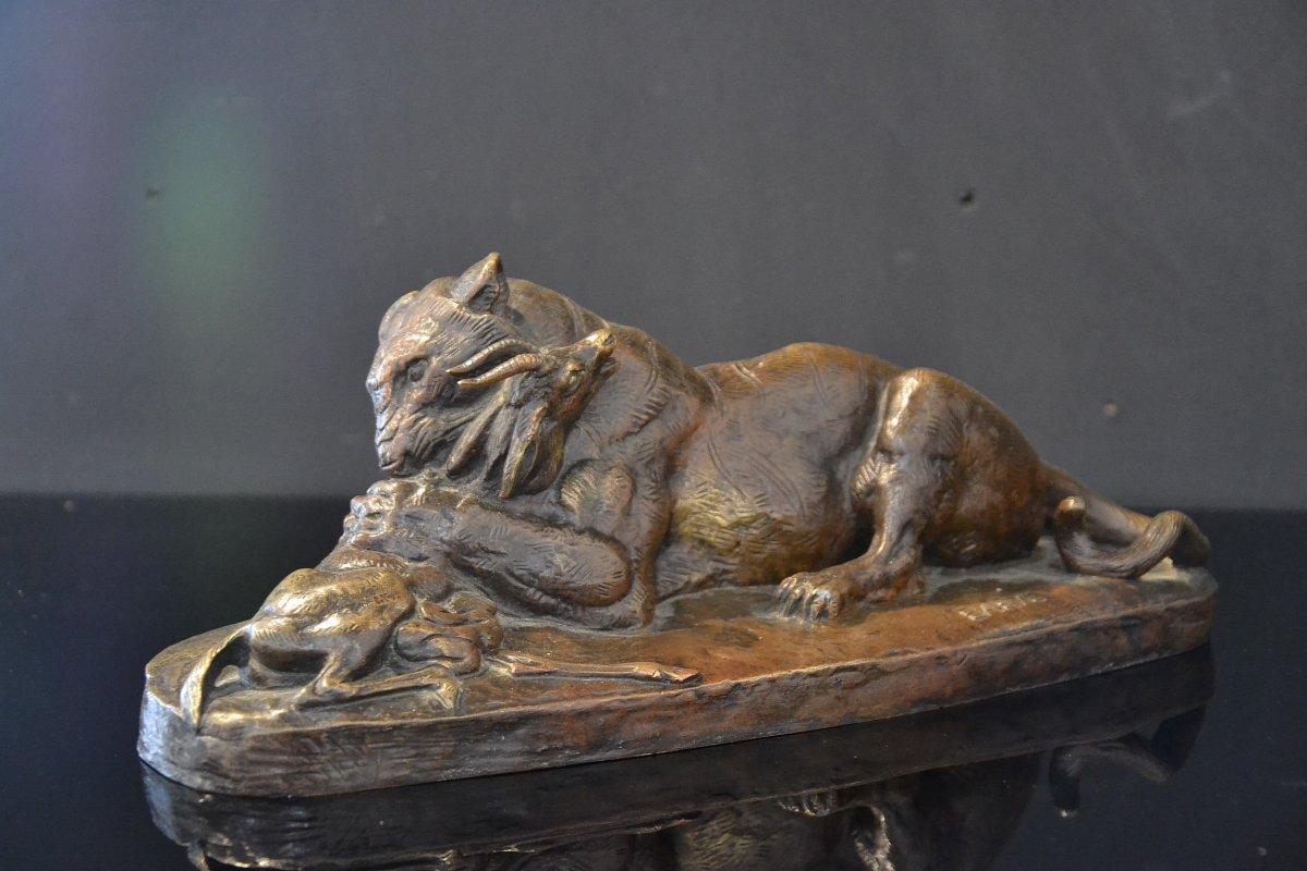 Tiger Surprising An Antelope. Antoine Louis Barye (1796-1875)