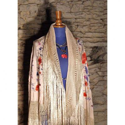 Large Embroidered Shawl, China. Early Twentieth Century