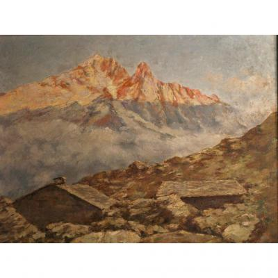 Paysage De Montagne Signé C. Castelli (1870-1959)