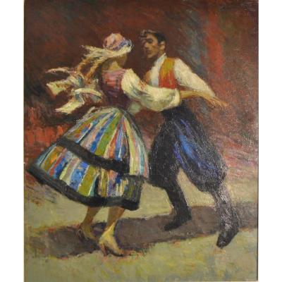 """Santini Pio (1908-1978)""""danseurs Folkloriques"""""""