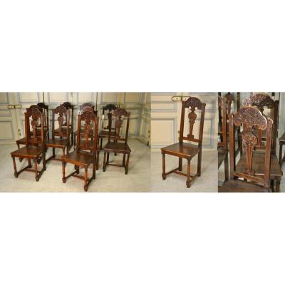 Suite De Dix Chaises En Noyer Style Renaissance