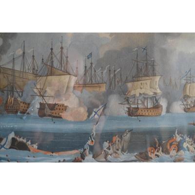 Gouache Napolitaine Représentant Une Bataille Navale