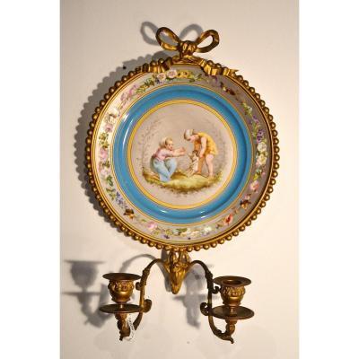 Paire d'Appliques En Porcelaine De Sèvres, époque 19e Siècle