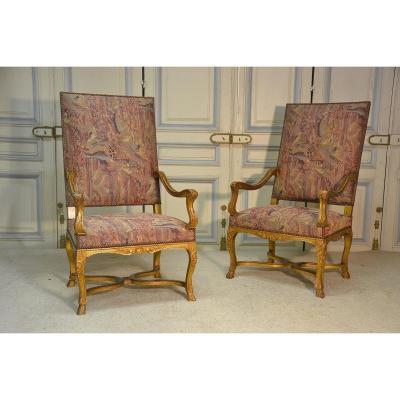 Pair Of Armchairs In Golden Wood Regency Style