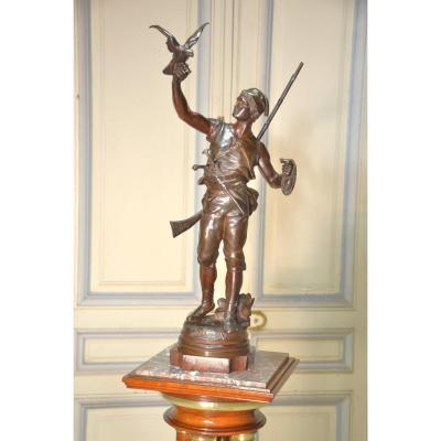 "sujet en bronze ""Le lancer"" signé E. Marioton (1854-1933)"