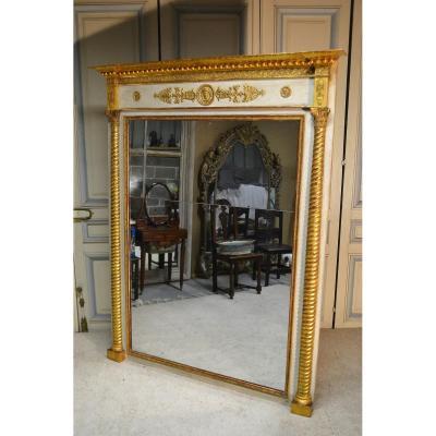 Miroir Doré Et Rechampi, époque Empire
