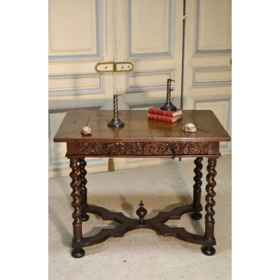 Writing Table In Oak, Vire 17th Century