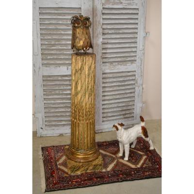 Owl Column Wood Louis XVI Style