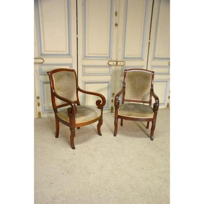 Pair Of Mahogany Armchairs Nineteenth Century
