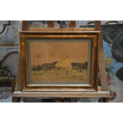 """Pastel """"La meule"""" Pierre Prins (1838-1913)"""