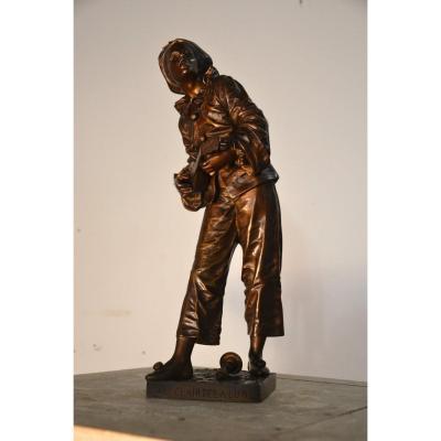 Bronze  Eutrope Bouret (1833-1906) Au Clair De La Lune