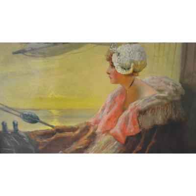 "huile sur toile ""Manon Lescaut"" signé Albert Matignon (1860-1937)"