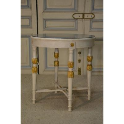Consulate Style Lacquered And Gilded Wood Pedestal Table