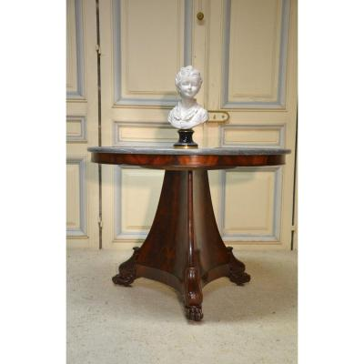 Empire Period Mahogany Veneer Pedestal Table