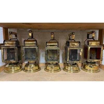 Railroad Lantern In Brass Late Nineteenth